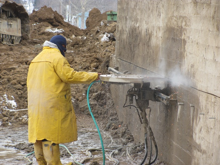 Cutting Concrete Wall to Remove Top Section