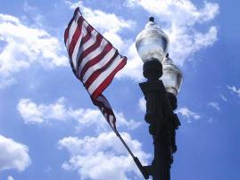 American Flag and Light Post